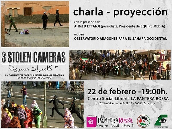 """Charla proyeccion """"3 stolen cameras"""""""